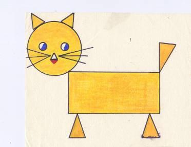 стоят кот из геометрических фигур картинка делать