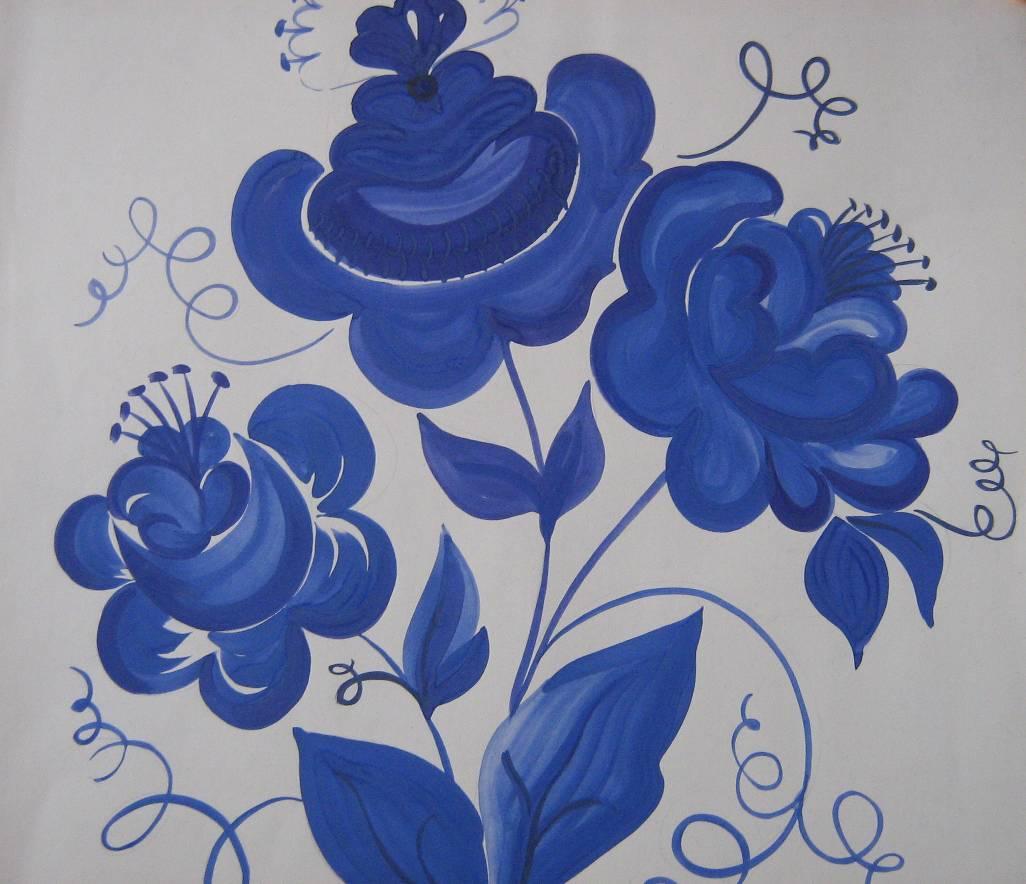 Гжельская роспись картинки как рисовать